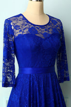 Load image into Gallery viewer, Royal Blue Rose Lace Dress