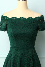 Load image into Gallery viewer, Dark Green Off the Shoulder Dress