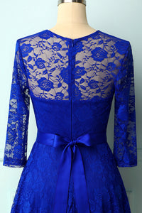 Royal Blue Rose Lace Dress