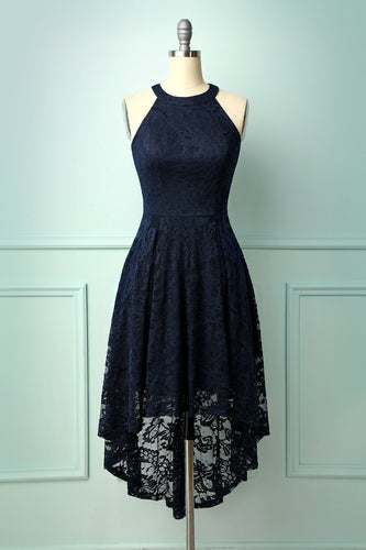 Asymmetric Navy Lace Dress