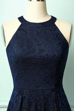 Load image into Gallery viewer, Asymmetric Navy Lace Dress
