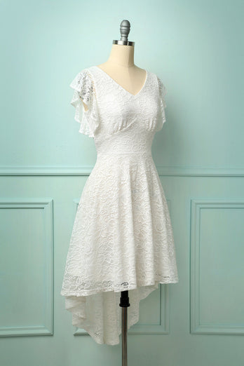 High-low White Lace Dress