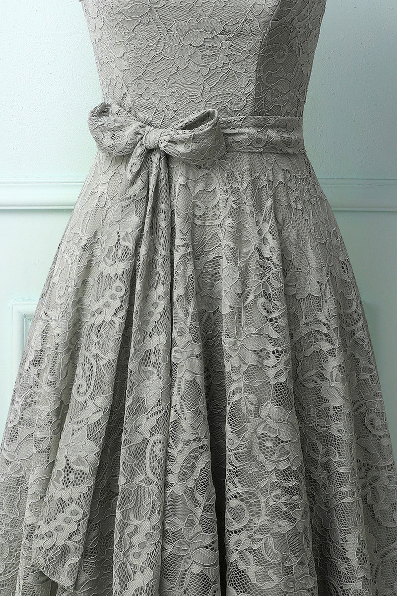 Load image into Gallery viewer, Grey Lace Midi Dress