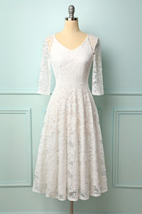 White 3/4 Sleeves Midi Lace