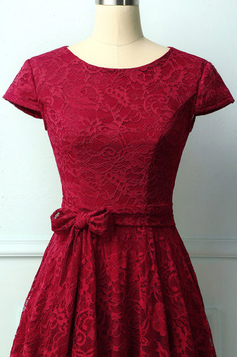 Dark Red Lace Midi Dress