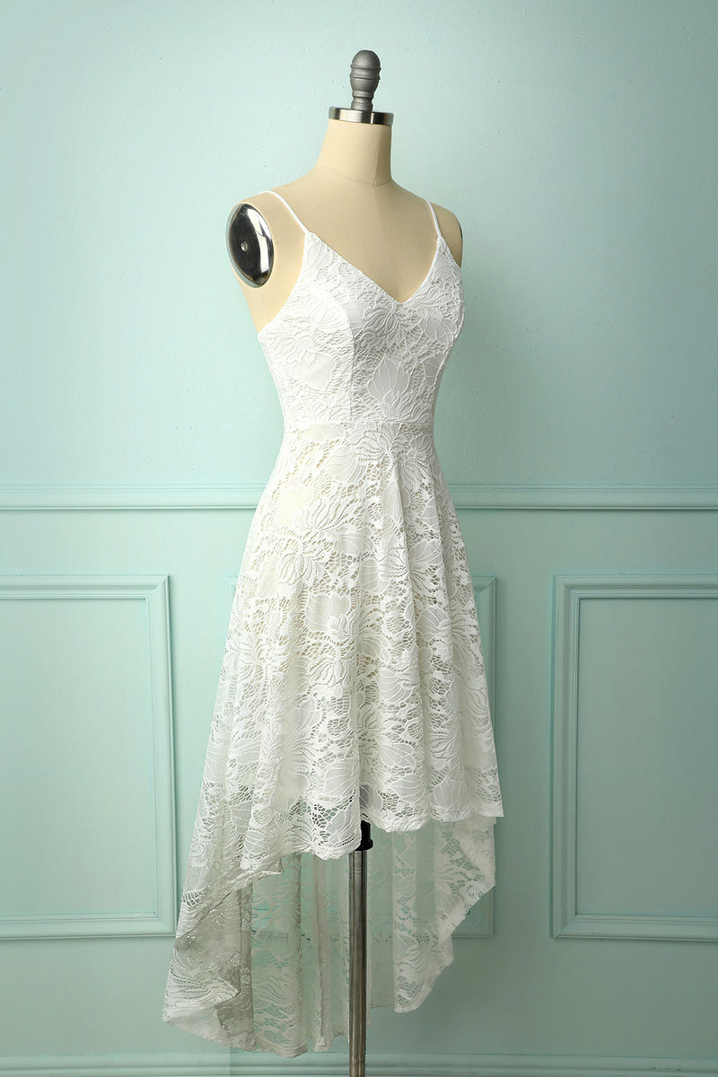 Load image into Gallery viewer, High Low Lace White Dress
