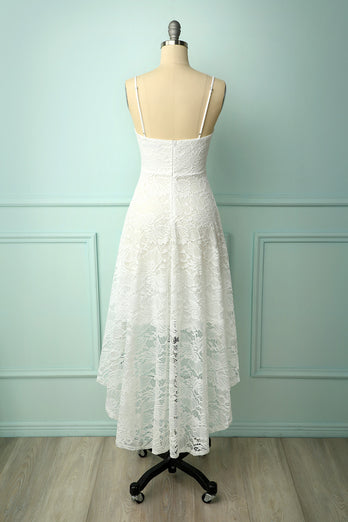 High Low Lace White Dress