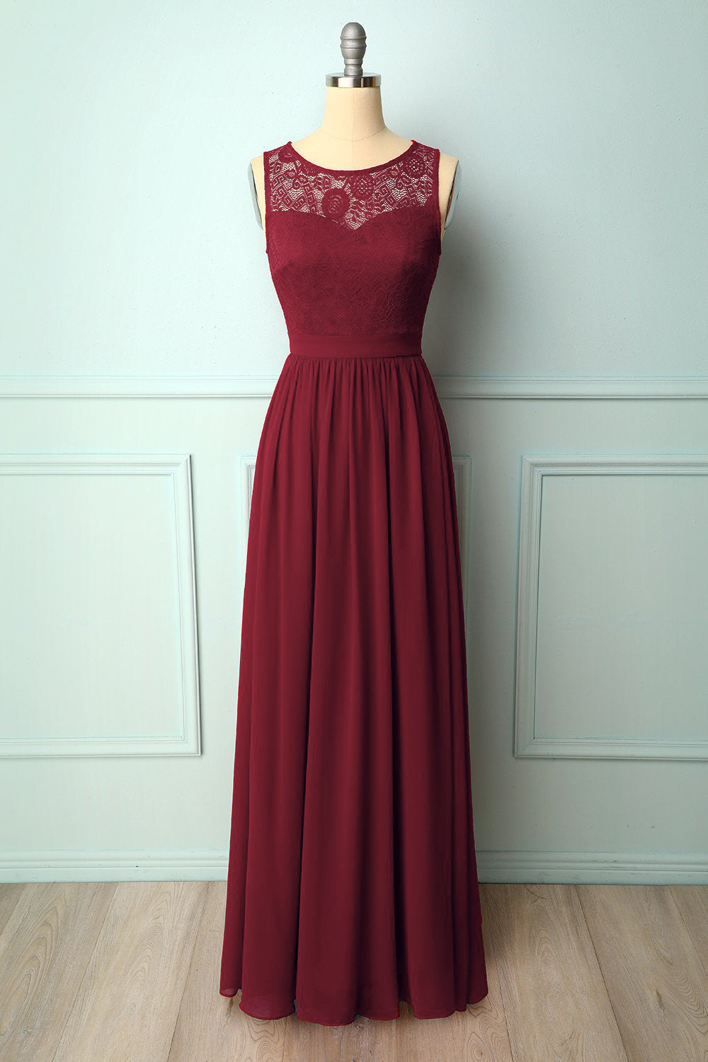 Burgundy Lace Long Dress