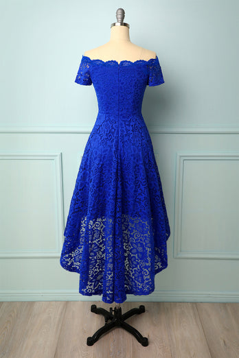 Royal Blue Off the Shoulder Dress
