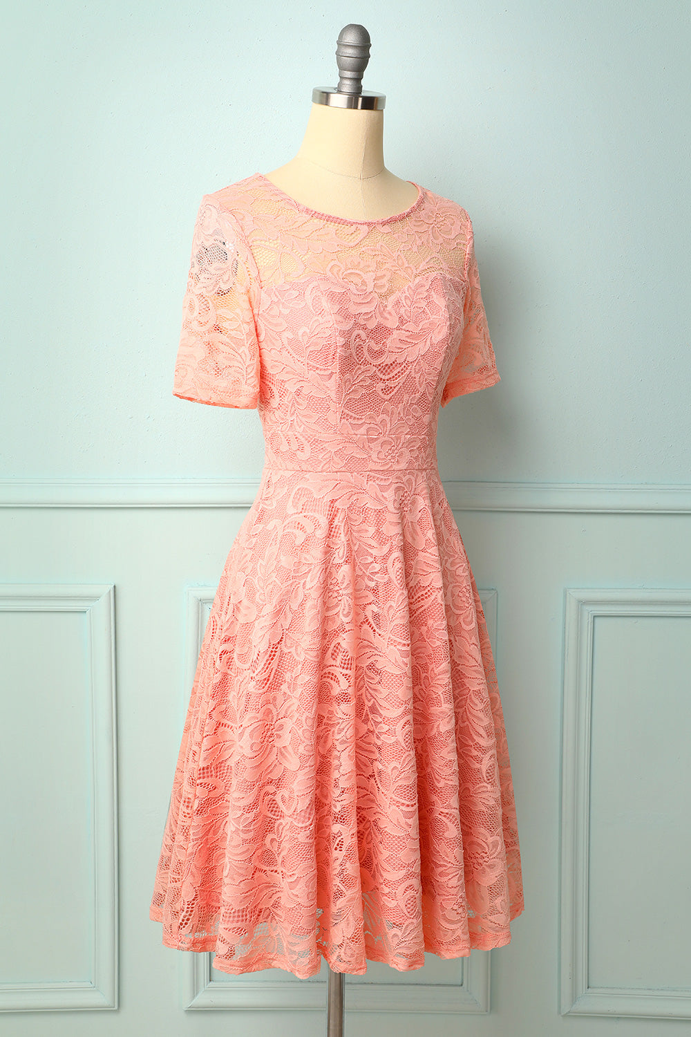 Pink Midi Lace Bridesmaid