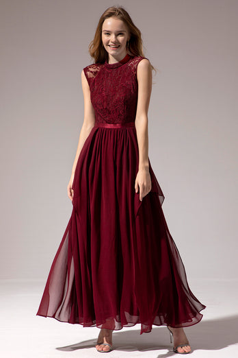 Burgundy Long Chiffon Prom Dress