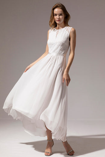 White Long Chiffon Dress