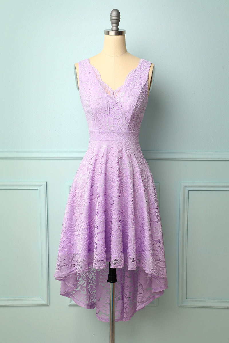Load image into Gallery viewer, Lavender V-Neck Lace Dress