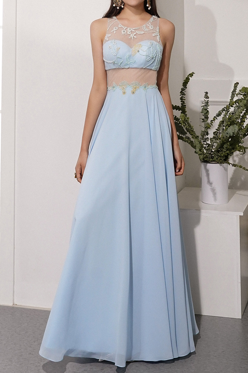 Blue A Line Chiffon Prom Dress With Appliques