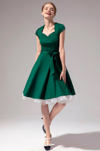 Green V Neck Swing Dress