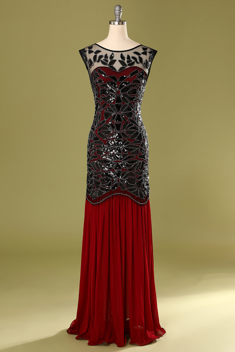 Red and Black 20s long dress