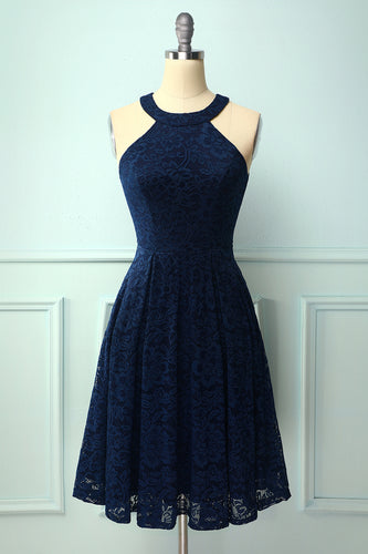 Navy Round Neck Lace Midi