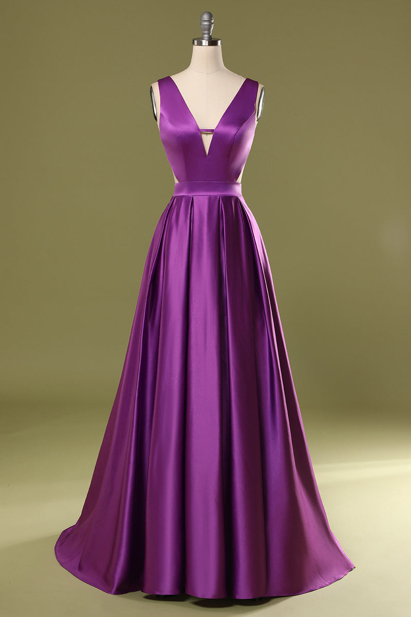 Load image into Gallery viewer, Purple V Neck Long Prom Dress