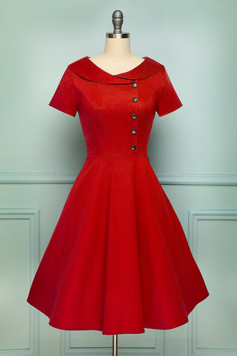 1950s Red Button Swing Dress