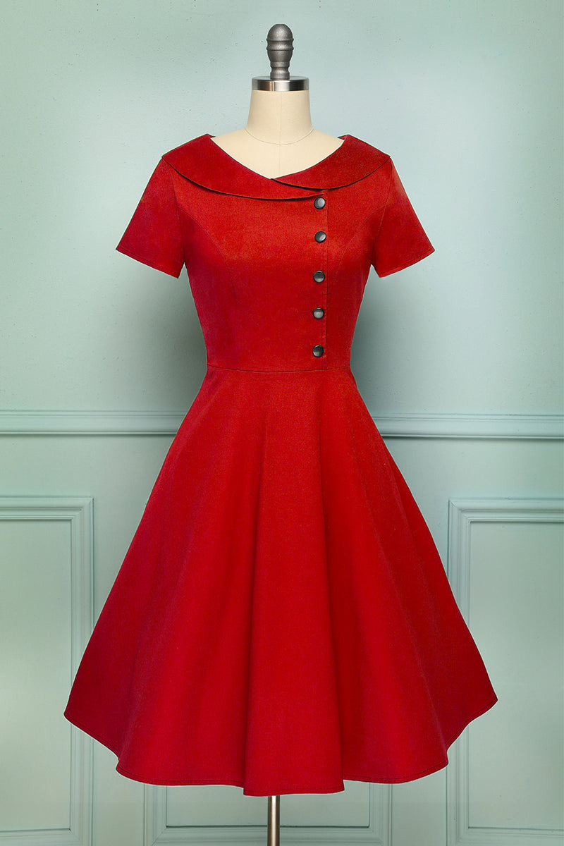 Load image into Gallery viewer, Red Button Dress