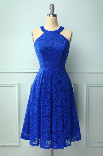 Royal Blue Round Neck Lace Midi