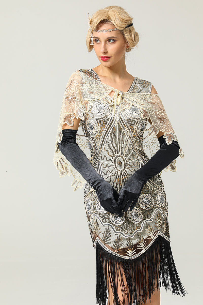 Load image into Gallery viewer, 1920s Ivory Flower Sequin Women Cape