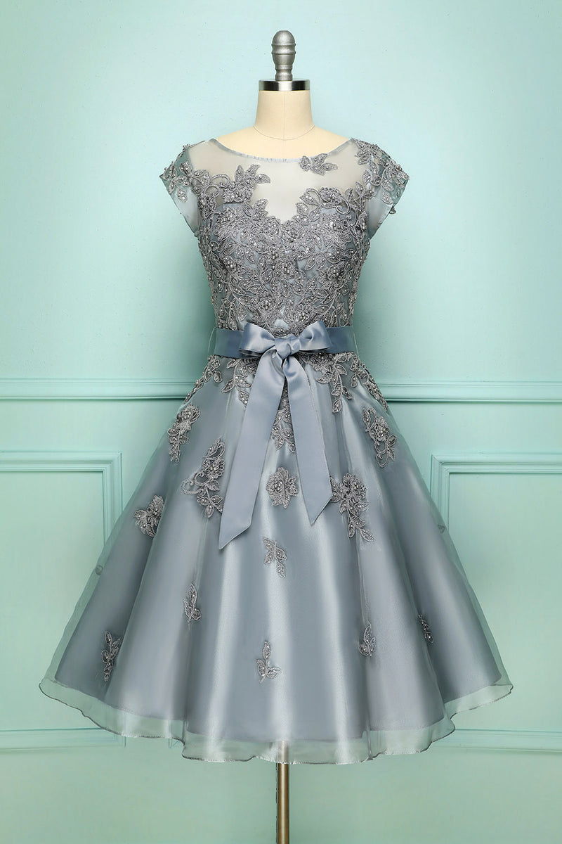 Load image into Gallery viewer, Grey Vintage Short Prom Dress