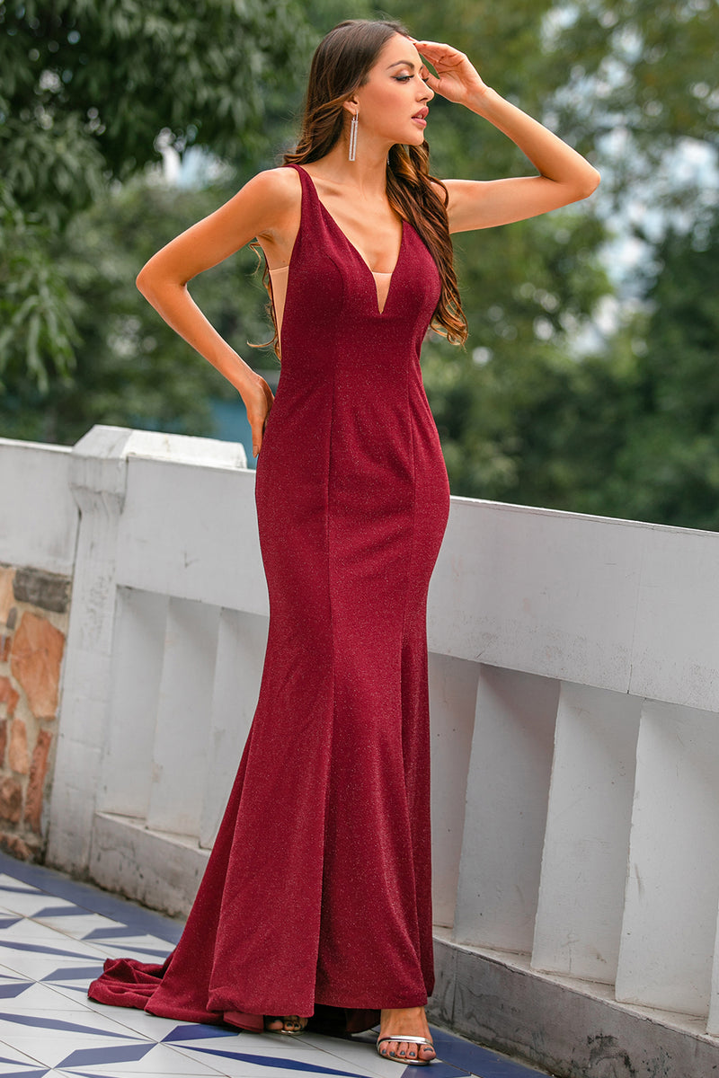 Load image into Gallery viewer, Burgundy Velvet Long Prom Dress