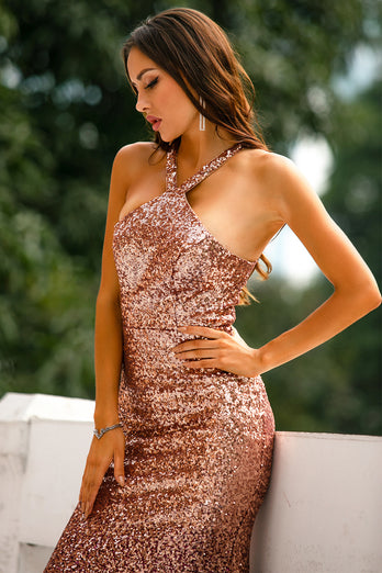 Sequins Halter Prom Dress