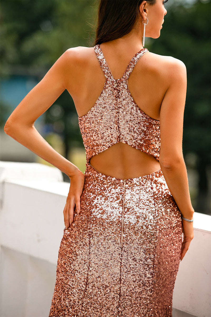 Load image into Gallery viewer, Sequins Halter Prom Dress