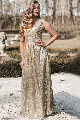 Gold V Neck Sequin Prom Bridesmaid