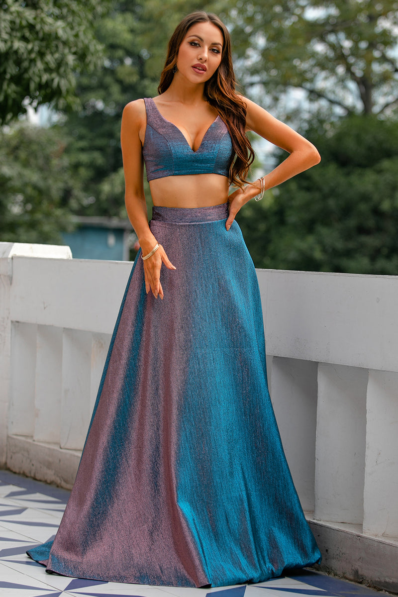 Load image into Gallery viewer, Blue Glitter Two Piece Long Prom Dress