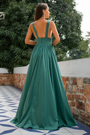 Green Deep V Neck Long Bridesmaid Dress