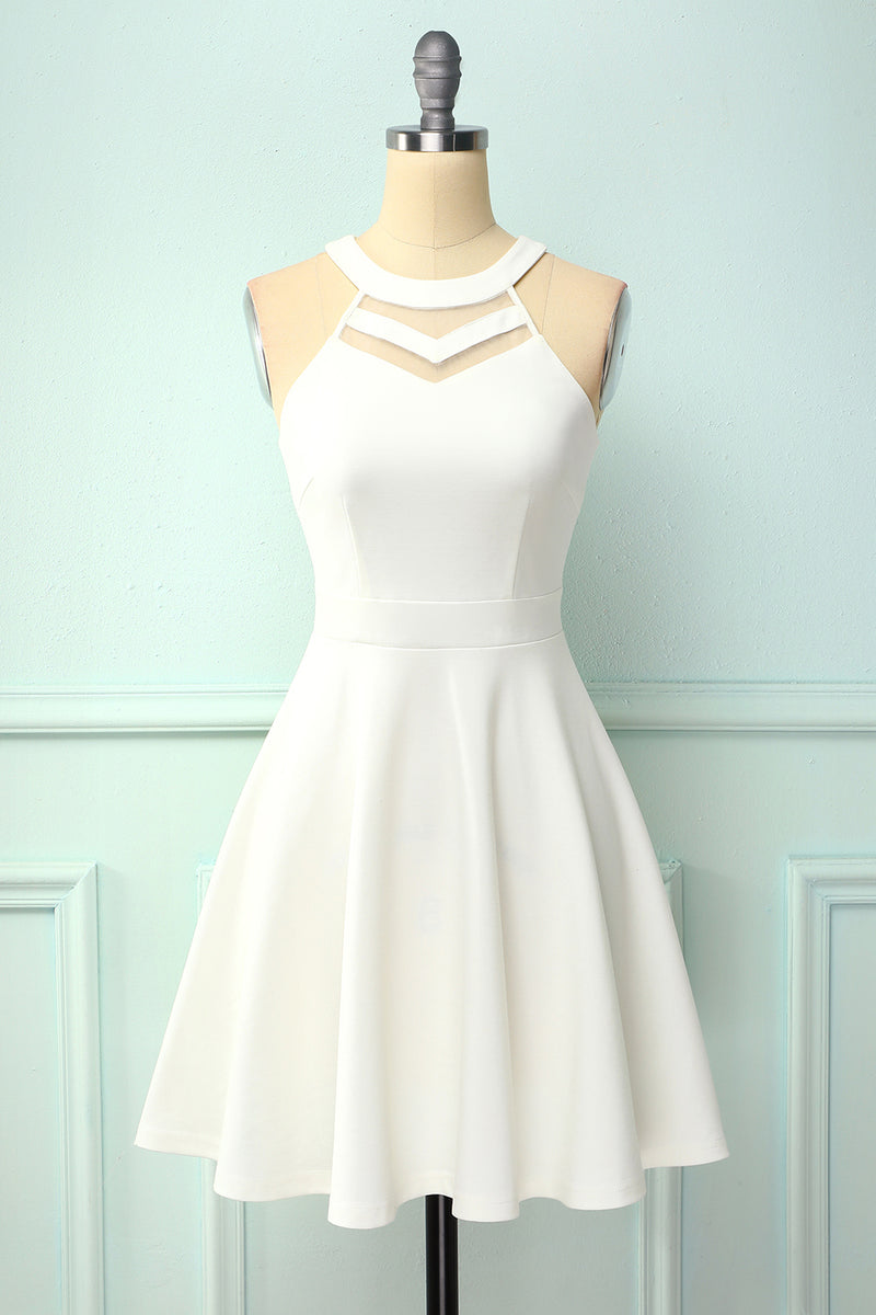 Load image into Gallery viewer, White Hollow Skater Dress