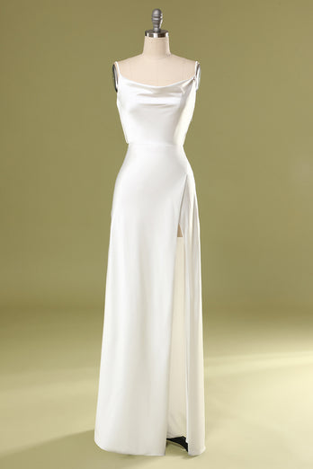 Mermaid White Long Prom Dress