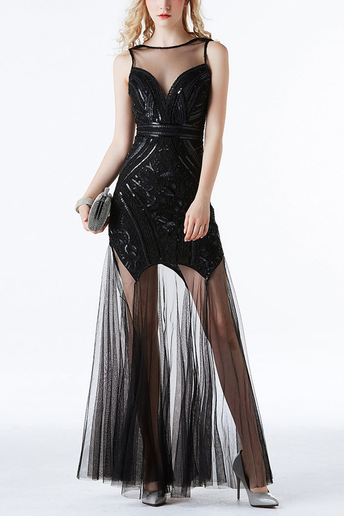 Load image into Gallery viewer, Black Sequin Long Tulle 1920s Dress
