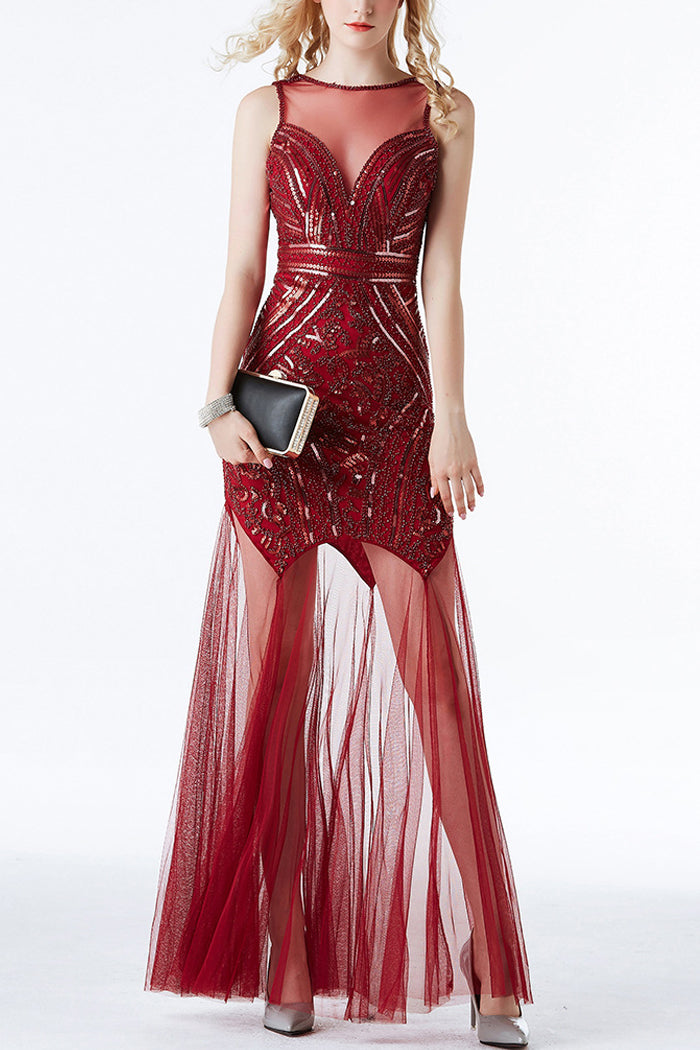 Red Sequin Long Tulle 1920s Prom Dress