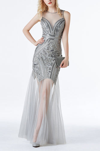 Silver Sequin Long Tulle 1920s Dress