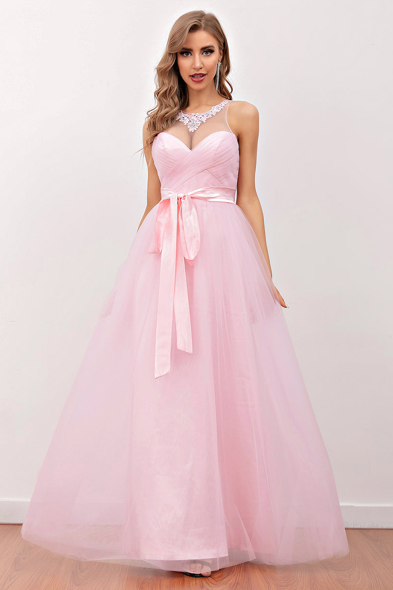 Load image into Gallery viewer, Pink Illusion Back Long Bridesmaid Dress