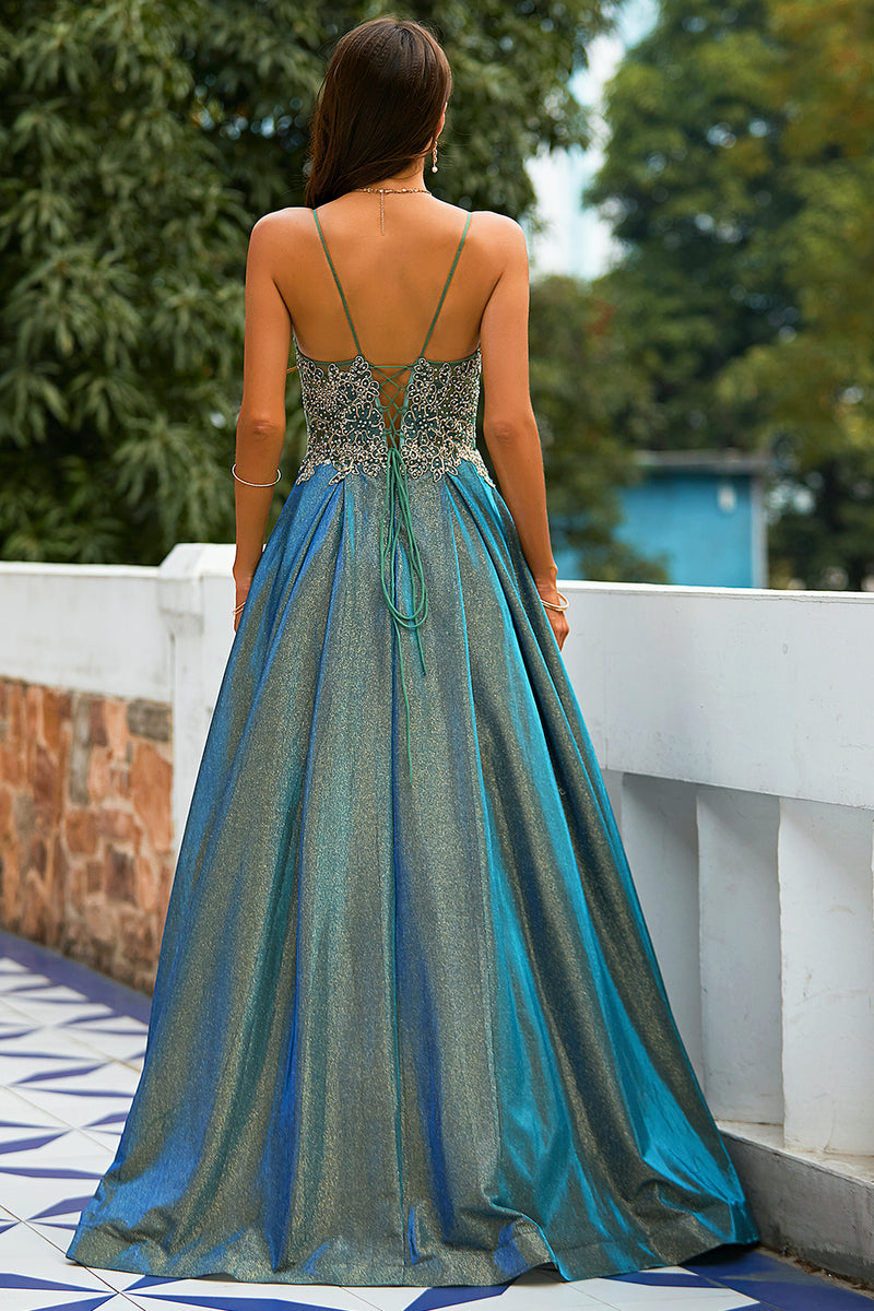 Load image into Gallery viewer, Dark Grey Glitter Spaghetti Straps Long Prom Dress