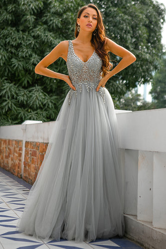Grey V Neck Beaded Long Prom Dress