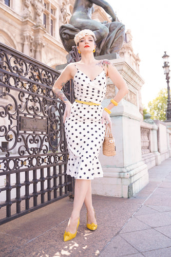 Black and White Polka Dots Mermaid Dress