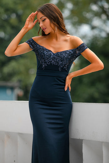 Off Shoulder Sequins Mother Dress