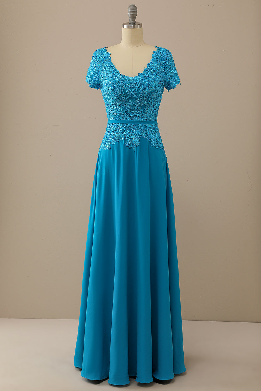 V Neck Peacock Blue Mother of Bride Dress