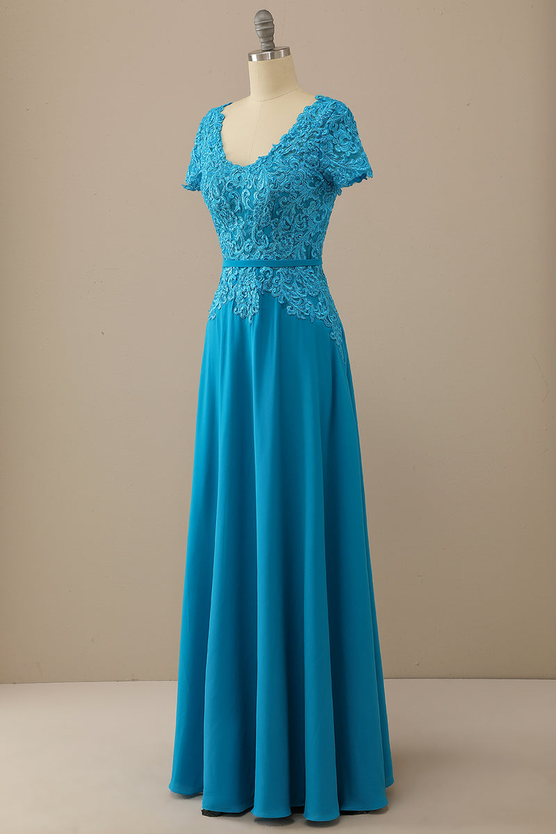 Load image into Gallery viewer, V Neck Peacock Blue Mother of Bride Dress