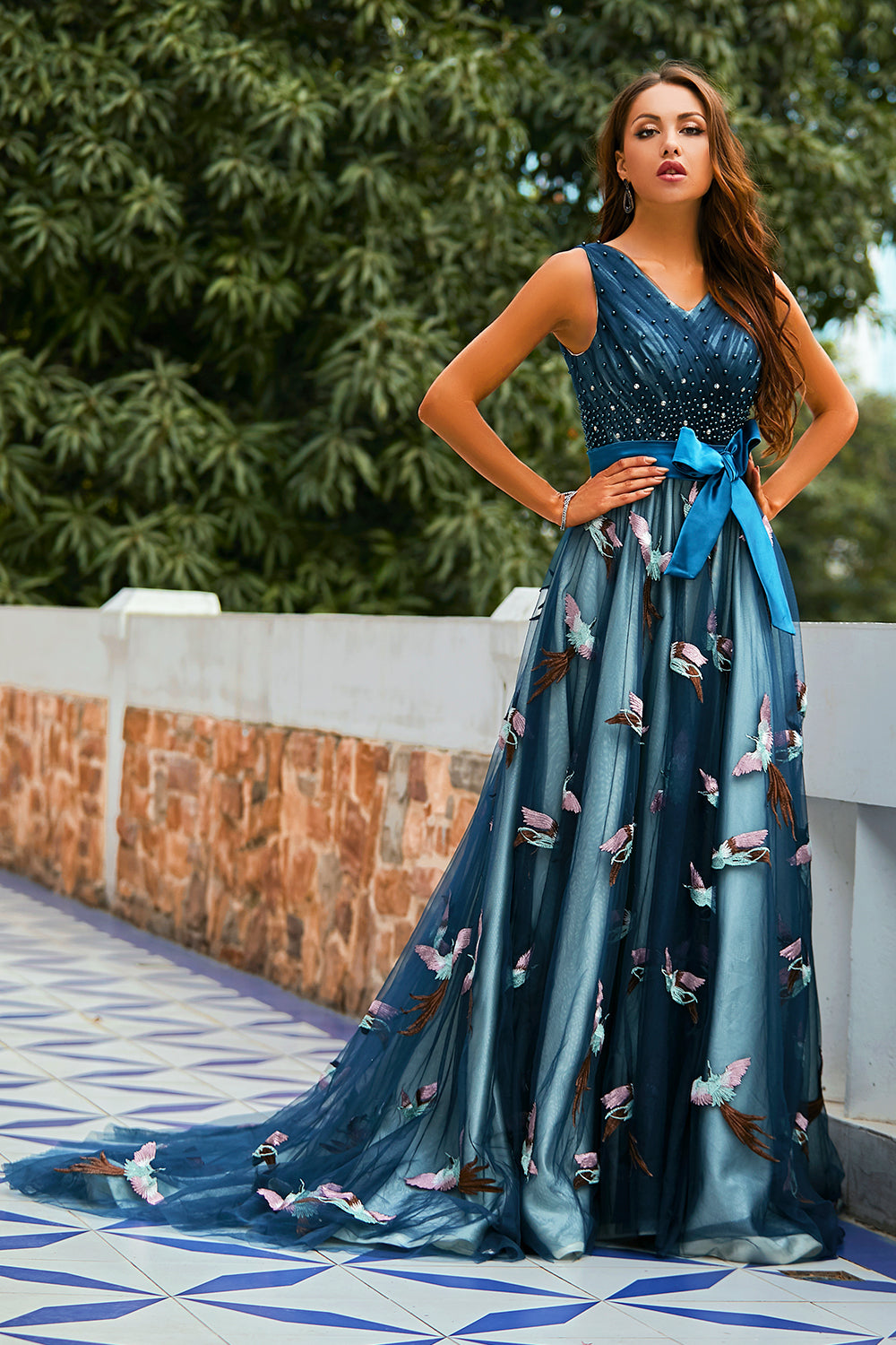 Gorgeous A Line V Neck Navy Prom Party Dress