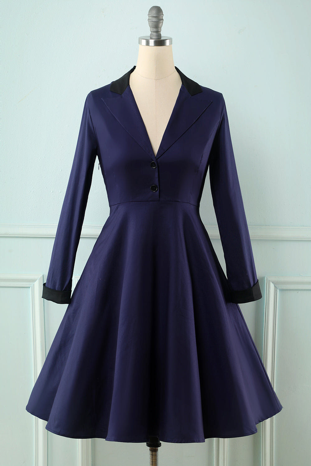 Navy Long Sleeves Swing Dress