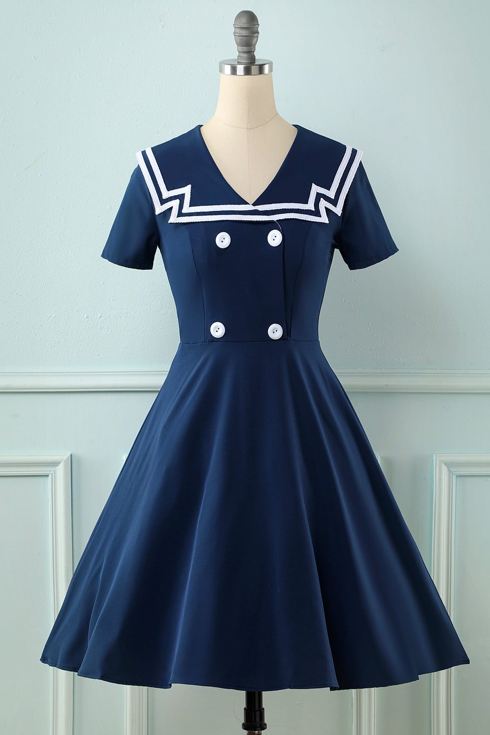 Navy 1950s Swing Dress