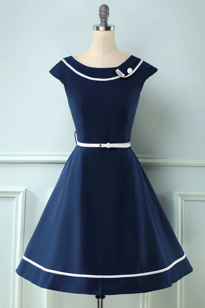 Load image into Gallery viewer, Navy Boat Neck Vintage 1950s Dress