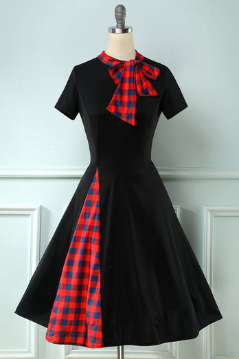 Black Plaid Swing 1950s Dress